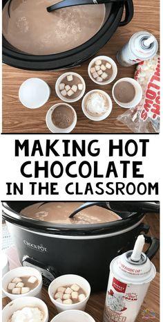 Making Hot Chocolate In The Classroom - Primary Playground Heiße Schokolade im Klassenzimmer machen. Cooking In The Classroom, Classroom Fun, Classroom Activities, Future Classroom, Preschool Cooking, Holiday Classrooms, Classroom Party Ideas, Classroom Rewards, Preschool Bulletin