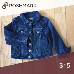 Gap 1969 toddler Jean jacket Gap 1969 toddler Jean jacket dark wash with light fade on front & back. Cute with cuffs rolled. baby gap Jackets & Coats Jean Jackets