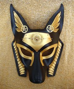 Steampunk Anubis Egyptian mask  This would look so pretty on the wall of my dream blue room