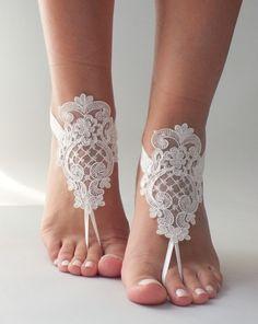 Dentelle romantique sandales aux pieds nus, sandales aux pieds nus mariage de plage, des sandales aux