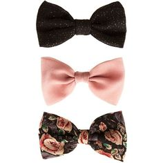 3 Pack Pink Black and Floral Hair Bows (€2,81) ❤ liked on Polyvore