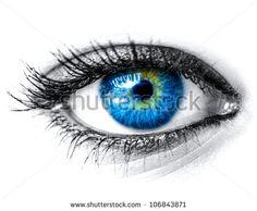Blue woman eye macro shot