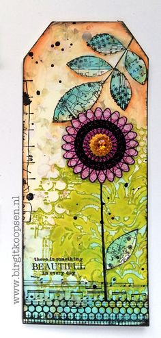 """This tag is featuring 4 of my stamp sets for Carabelle Studio. To create this tag I first stamped the """"French Lily"""" stamp with green acrylic paint. To get a nice and even layer of paint on a rubber stamp. Art Journal Pages, Journal Cards, Mix Media, Diy Marque Page, Mixed Media Cards, Mini Albums, Spirograph, Card Tags, Atc Cards"""