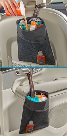 Car Back Seat Trash Bag Foldable High Capacity Hanging Auto Storage Bin Basket