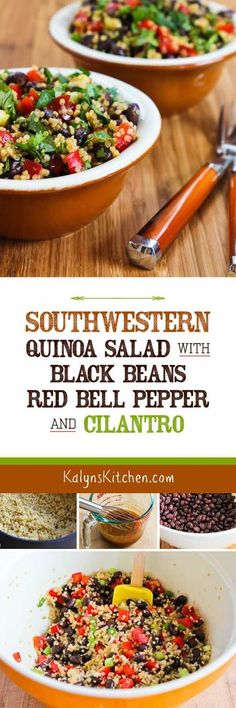 This Southwestern Quinoa Salad with Black Beans, Red Bell Pepper, and Cilantro has been pinned nearly times, which I think is pretty remarkable for a healthy recipe with quinoa! I've made this o Clean Eating, Healthy Eating, Vegetarian Recipes, Cooking Recipes, Healthy Recipes, Apple Recipes, No Heat Lunch, Quinoa Salat, Think Food