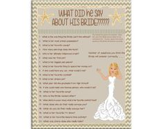 ****Printable Bridal/Wedding Shower Game****PRINTABLE*****   *****NOTE******* This listing is for a shower game that you will print. NO physical items will be sent to you.    *********CHANGES******** The colors and questions used in this listing can easily be changed. Just send me a note in the notes to seller section at checkout and let me know your changes. PLEASE NOTE: Please look on my main page under my logo and make sure I'm home so I can make the changes   ********What you Get****...