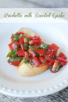 Bruscetta: 5-8 tomatoes, 1-2 garlic cloves, minced,  Fresh basil, chopped (to taste), Salt and pepper to taste, Olive oil (be generous) Mix ingredients together. Store in refrigerator. 1/2 Baguette, 1/2 stick butter, 1 garlic clove, minced. Mix butter and garlic together. Spread on bread and toast in 350 degree oven until crisp and golden brown. Top with tomato mixture and savor. X