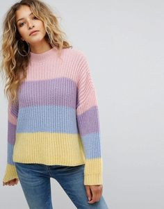 Missguided Stripe Brushed Knitted Sweater - Purple