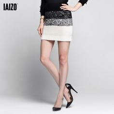 free   shipping Iaizo autumn and winter fashion slim elastic stripe gradient bust skirt short skirt female 3ap4011t