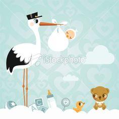 Stork and baby. Newborn babyshower cloud cute invitation minimil Royalty Free Stock Vector Art Illustration