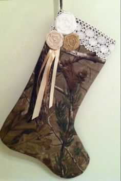 Mossy Oak or  RealTree Camo Christmas Stocking with by MarleyOcean, $22.00
