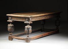 A RENAISSANCE REVIVAL CARVED OAK REFECTORY TABLE, : Lot 428