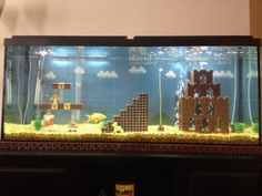 Awesome Super Mario Bros. fish tank made with LEGOs