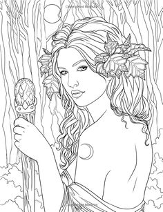Fairy. Adult coloring  page. source: http://www.amazon.com/Enchanted-Magical-Forests-Coloring-Collection