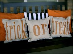 Front Porch Halloween Decorating Ideas • DIY projects, Tutorials and Ideas! Including, from 'chapman place', these lovely glitter trick or treat pillows with tutorial.