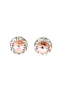 Rose Champagne Crystal Button Earrings