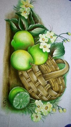 Seashell Painting, Fruit Painting, Fabric Painting, Fabric Paint Designs, Vase Crafts, Mosaic Projects, Decoupage Paper, Fruit Art, Mural Art