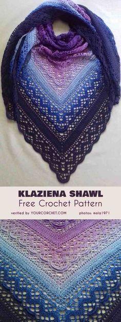 Shawl Patterns 56717276543001775 - Klaziena Shawl Free Crochet Pattern Source by camillesaubesty Pull Crochet, Crochet Shawl Free, Crochet Shawls And Wraps, Crochet Scarves, Crochet Clothes, Crochet Stitches, Lace Shawls, Crochet Cowls, Knitting Scarves