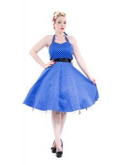 a09535755082 Details about H & R London Pinup Dress Big Polka Dot Vintage Halter Retro VTG  Party Clothing