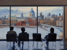 "A view from the Tate Modern in London, 36""x48"" oil painting by artist Nick Savides"