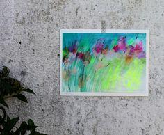 """Pole moje Vo vnútri steká po tvári drobná a modrá tak ako nebo je . blízko v nás Lu. maľba formát A4,akvarelový papier 250g s bielou paspartou okolo- tiež akvarelový papier 300g s jemnou textúrou, neonové farby a farba strieborná. . každý si povie """"to tam len tak napatleš a je"""" nie je nič ťažšie než sa pokúšať o kúsok abstraktného čohosi.ešte viac záleží na rytme ..."""