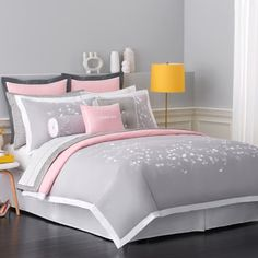 pink adult bedding | Option 1: Gray & Pink Romantic Bedding [with the pops of yellow! my ...