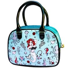 Image of Fluff Molly Mermaid Bowler Handbag Limited Edition Tattoo Rockabilly Retro Purse