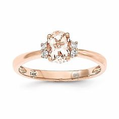 - Metal Material: 14k Rose Gold (solid) - 1.86gm - Genuine Diamond - Genuine Morganite Stone Type: Diamond Stone Creation Method:Natural Stone Shape:Round Stone Color:White Stone Size:1 mm Stone Quant