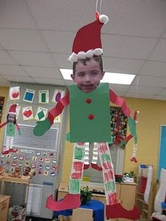 Tried this with my kindergarten class, they loved it and enjoyed making goofy faces! I placed the elves on shelves (brown paper cut into rectangles) out in the hallway! Our class is now all elves on the shelves!