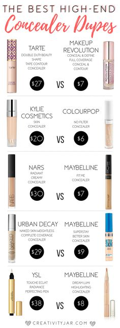 Next up in my drugstore dupe series is concealers! These are 5 affordable options to some of the most popular high-end products and you need to try them! Makeup Tarte, Drugstore Makeup Dupes, Beauty Dupes, Skin Makeup, Beauty Skin, Eyeshadow Makeup, Diy Beauty, Make Up Drugstore, Beauty Tricks