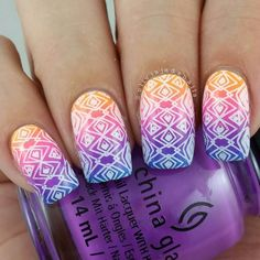 As soon as I saw this gradient on Debbie @ladyandthe_stamp I knew I just had to do it for myself. It's so pretty. Polishes used are @chinaglazeofficial Home Sweet House Music Glow With The Flow Plur-ple and DJ Blue My Mind. Stamping design is from @bundlemonster Festival Collection (I have swatches & a review over on my blog today - link is in the bio). #chinaglaze #bundlemonster #notd #nails #nailpolish #nailart #nailartaddict #aussienails #neonnails by oliviajadenails