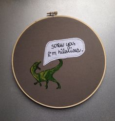 "screw you, i'm hilarious - hand embroidered ""freaks and geeks / bill haverchuck"" wall hanging with dinosaur applique (made to order)"