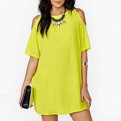 Women's White/Black/Yellow Round Neck Dress, Chiffon Above Knee Short Sleeve - USD $ 5.99