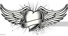 Wings Sketch, Wings Drawing, Cool Wrist Tattoos, Body Art Tattoos, Tattoo Sketches, Tattoo Drawings, Coeur Tattoo, Baby Memorial Tattoos, Heart With Wings Tattoo