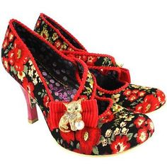 Irregular Choice Wiskers Red Floral Gold Kitty Cat Marble Heel UK7.5/EU41
