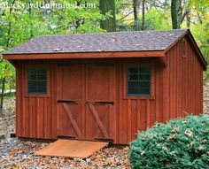 10'x15' Quaker Storage Shed with Board and Batten Siding, Gable Vent, and Ramp http://www.backyardunlimited.com/sheds/quaker-sheds