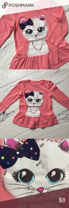 Cute Kitty Top Adorable top for all those kitty lovers💕.  Kitten is really sparkly and cute! Jumping Beans size 24M, nice used condition. Jumping Beans Shirts & Tops Tees - Long Sleeve