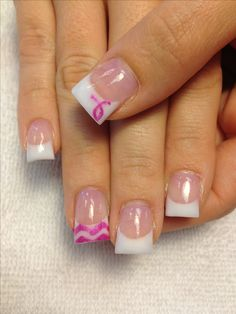 Chevron Breast Cancer Awareness Nails