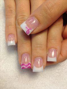 Chevron Breast Cancer Awareness Nails