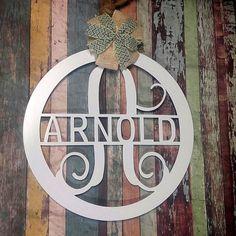 Front Door Hanger, Door wreath, Vine Monogram, Wall Decor, Wedding Gift , Shower Gift, Monogram Door Sign, Metal Monogram, Valentines Gift