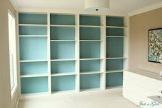 wood trim, living rooms, color, blue, background, billi bookcas, librari, paint, shelv
