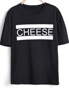 Black Short Sleeve CHEESE Print Loose T-Shirt GBP£10.17