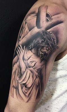 50 tatuagens religiosas para você se inspirar - Fotos e Tatuagens Cross Tattoo For Men, Leg Tattoo Men, 12 Tattoos, Body Art Tattoos, Tattos, Jesus Tattoo Sleeve, Religous Tattoo, Mother Mary Tattoos, Heaven Tattoos