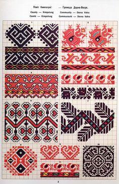 Ukrainian and Romanian embroidery of Bukovyna-Bucovina Polish Embroidery, Folk Embroidery, Cross Stitch Embroidery, Embroidery Patterns, Crochet Patterns, Cross Stitch Borders, Cross Stitch Designs, Cross Stitch Patterns, Boarder Designs