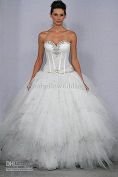 Wholesale Ball Gown Wedding Dresses - Buy - Sexy Ball Gown Beaded Pnina Tornai Bling Bling Wedding Dresses 4074 Tulle Sweetheart Tiered Shimmer, $107.18   DHgate