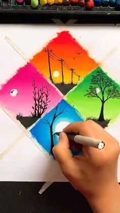 Simple Canvas Paintings, Easy Canvas Art, Small Canvas Art, Art Drawings Beautiful, Art Drawings For Kids, Art Drawings Sketches Simple, Canvas Painting Tutorials, Drawing Tutorials, Crayon Painting