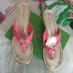 Lilly Pulitzer McKim Wedges Lovely Lilly Pulitzer McKim wedge sandals in pretty pink. Size 10 in original box. Excellent condition with minor toe prints and slight wear to bottoms. Super fast shipping on all my items! Offers are welcome but no trades! Lilly Pulitzer Shoes Sandals