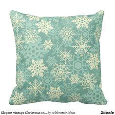Elegant Vintage Christmas  Snowflakes Throw Pillow.  Artwork designed by Celebration Ideas