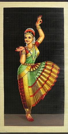 Bharatnatyam Dancer (Painting on Woven Bamboo Strands) inches - Sharmistha Mukherjee - Indian Living Rooms Dance Paintings, Indian Art Paintings, Room Paint Colors, Paint Colors For Living Room, Indiana, Indian Classical Dance, Classical Art, Girl Background, Dance Poses