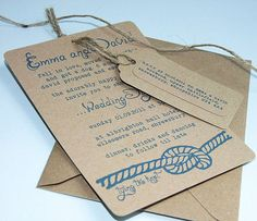 I love the recycled paper and blue print styled invites with string. Very eco-friendly.